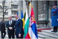 Premierul Mihai Tudose a fost întâmpinat de către Aleksandar Vučić, președintele Republicii Serbia