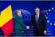 Declarații de presă comune susținute de premierul Viorica Dăncilă și președintele Parlamentului European, Antonio Tajani, la Bruxelles