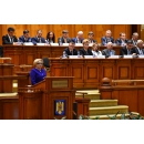 Prime Minister Viorica Dăncilă attends the solemn plenary session of the Parliament dedicated to the Great Union Centennial