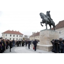 Prime Minister Viorica Dancila attends the wreath –laying ceremony at the Equestrian Statue of Mihai Viteazul