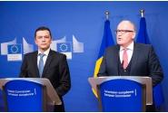 Declarații comune susținute de premierul Sorin Grindeanu și de prim-vicepreședintele Comisiei Europene, Frans Timmermans