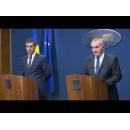 Declarații de presă ale ministrului Apărării Naționale, Mihnea Motoc, și ale ministrului Afacerilor Externe, Lazăr Comănescu, privind angajamentele României în urma Summit-ului NATO de la Varșovia