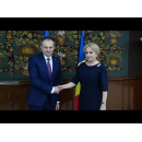 Prime Minister Viorica Dancila welcomes the President of the Parliament of the Republic of Moldova, Mr. Andrian Candu