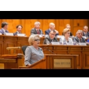 Prime Minister Viorica Dăncilă attends the Parliament plenary session – presentation of the state of preparedness and the topics of interest that will form the basis of the work programme of Romanian Presidency of the Council of the European Union