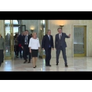 Prime Minister Viorica Dancila welcomes the Prime Minister of Italy Paolo Gentiloni at Victoria Palace