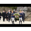 Offering condolences and laying a wreath at the catafalque of HM King Mihai I of Romania