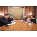 Accueil de Son Excellence, M. XU Feihong, l`ambassadeur de la République Populaire de Chine en Roumanie, par le(...)