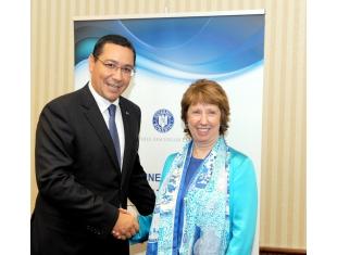 Le Premier ministre Victor Ponta sa eu aujourd`hui un entretien avec le Haut représentant de l`UE aux Affaires Etrangères et à la Politique de Sécurité, Mme Catherine Ashton